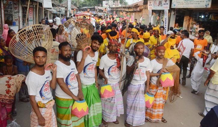 গাজীপুরে লোকজ উপকরণে ডিজিটাল ক্যাম্পেইনের শোভাযাত্রা