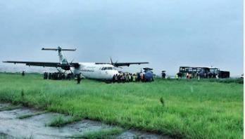 Plane skids off Nepal airport's runway, 2 injured