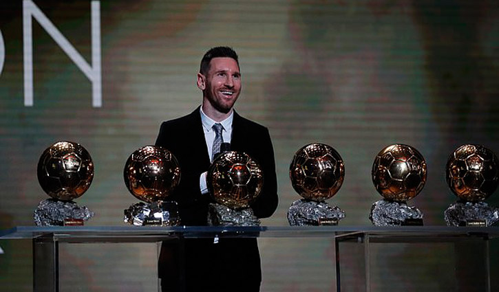 Messi secures record sixth Ballon d'Or