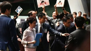 Chaos as Hong Kong 'state of the union' disrupted