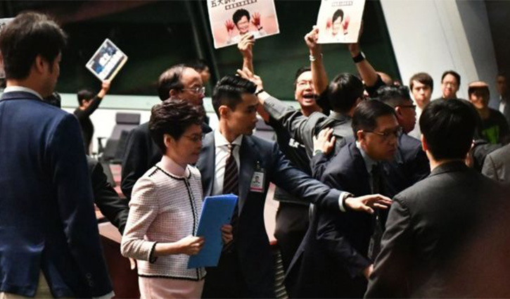 Image result for 'STATE OF THE UNION' ADDRESS HONG KONG LEADER SUSPENDS SPEECH OVER CHAOS IN PARLIAMENT