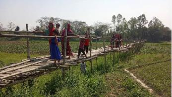 বাঁশের সাঁকোই গ্রামবাসীর ভরসা, সেতু নির্মাণের দাবি