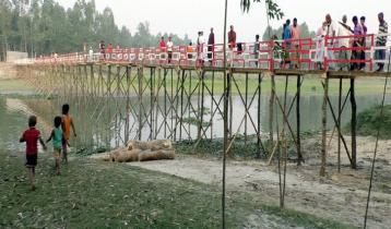 নরসিংদীতে স্বেচ্ছাশ্রমে ৪০০ ফুট দীর্ঘ সেতু