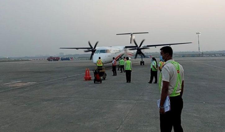 Biman`s new Dash 8-400 aircraft 'Shwetbalaka' arrives
