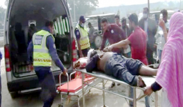 Two killed as ambulance turns turtle in Madaripur