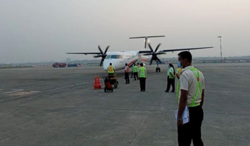 Biman`s new Dash 8-400 aircraft 'Shwetbalaka' arrives
