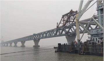 39th span of Padma Bridge installed, 5,850 meters become visible