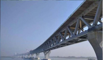 Padma Bridge's 33rd span being installed