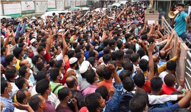 Ticket seekers crowd at Karwan Bazar