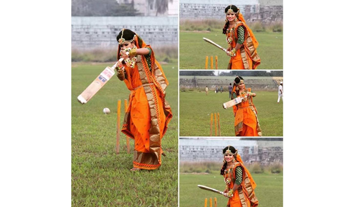 Girl in wedding dress in cricket ground goes viral