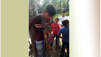 Teenager tied to tree, tortured, garlanded with shoes!