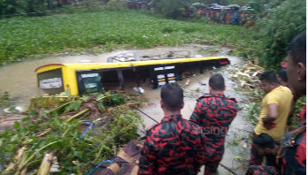 Passenger bus falls into ditch in Sunamganj