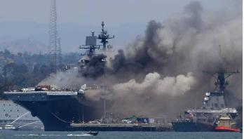 মার্কিন নৌবাহিনীর জাহাজে অগ্নিকাণ্ডে আহত ২১