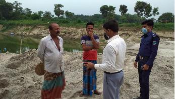 অবৈধভাবে বালু উত্তোলন: একজনকে ৫০ হাজার টাকা জরিমানা