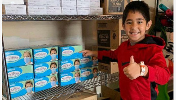 7-year-old donates 6,000 masks, gloves and caps