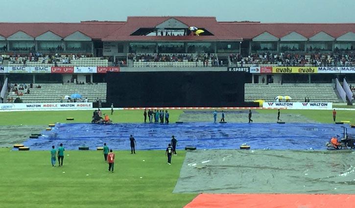 Rain halts play after Liton hits ton