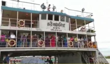 শিমুলিয়া-বাংলাবাজার নৌরুট: ফেরিতে যান ও যাত্রী পারাপার চলছে