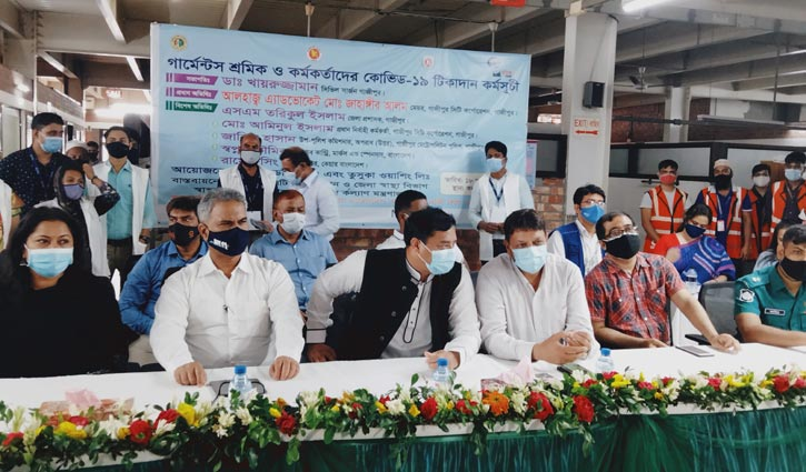 Vaccination to garment workers begins in Gazipur