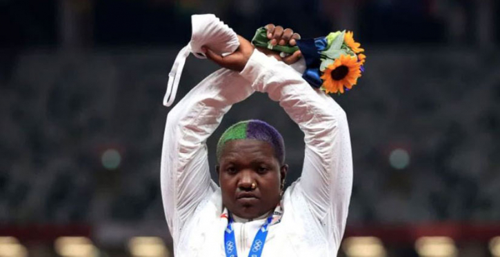 US shot putter Raven in first Olympic podium protest