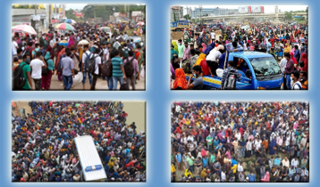 Dhaka-bound people throng Shimulia ferry ghat