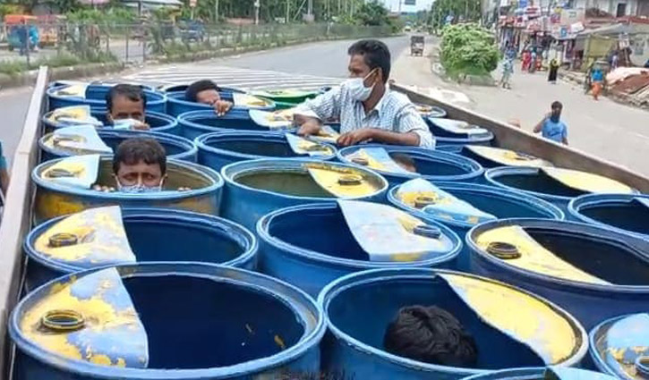 They were returning home hiding in fish drums on truck