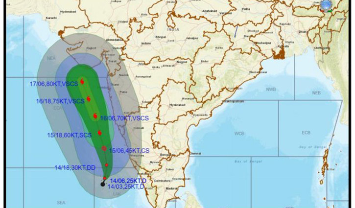 ভারতে ১৭৫ কিলোমিটার গতিতে আঘাত হানতে পারে ঘূর্ণিঝড় 'তাউকতে'