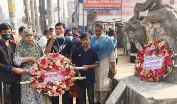 রানা প্লাজা ধসে নিহতদের ফুলেল শ্রদ্ধায় স্মরণ