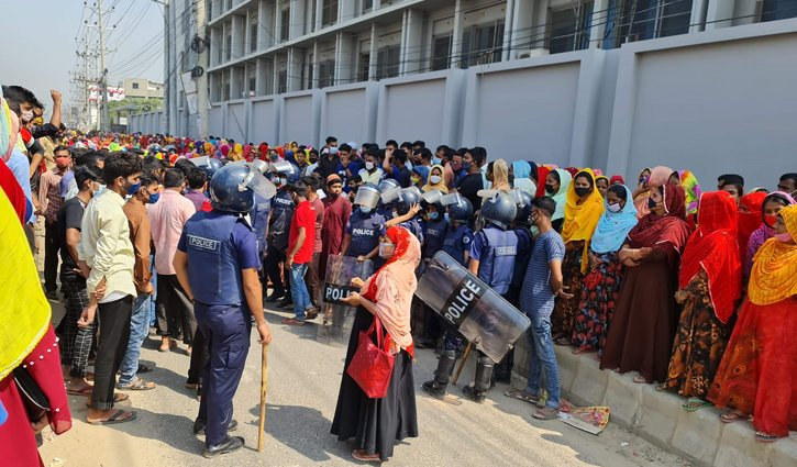 Garment workers stage demo demanding extension of Eid holidays