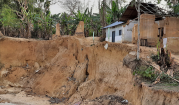 Hill collapse panic grips residents of Tripura Palli in Habiganj