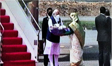 Indian PM arrives in Dhaka