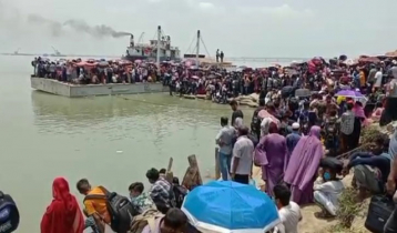 Shimulia ferry terminal sees mad rush of Eid holidaymakers even today