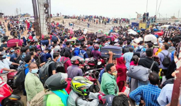 Mad rush of people at Shimulia ferry ghat