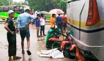 Three auto-rickshaw passengers crushed under bus in Cumilla